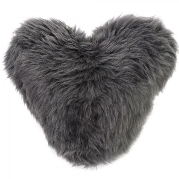 Bella Slate Grey Heart Shaped Sheepskin Cushion