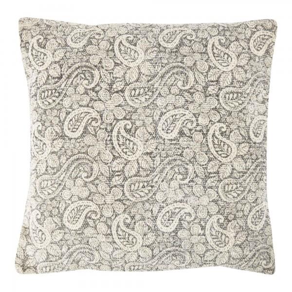 Grey Paisley 45 x 45 Cotton Cushion