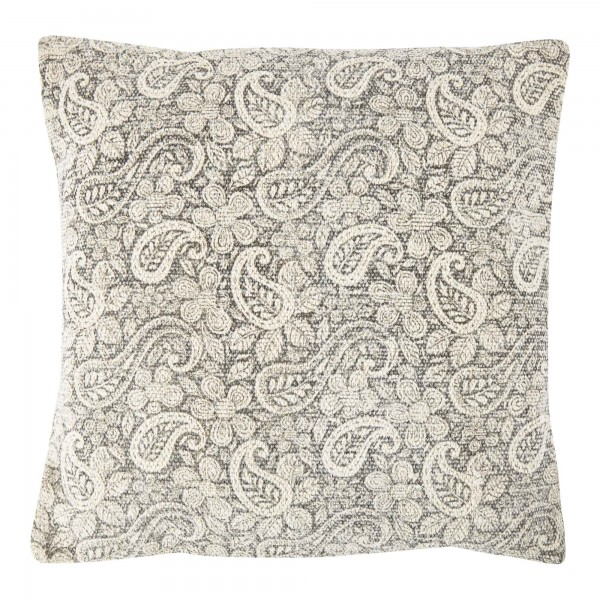 Grey Paisley 45 x 45 Cotton Cushion Complete With Interior