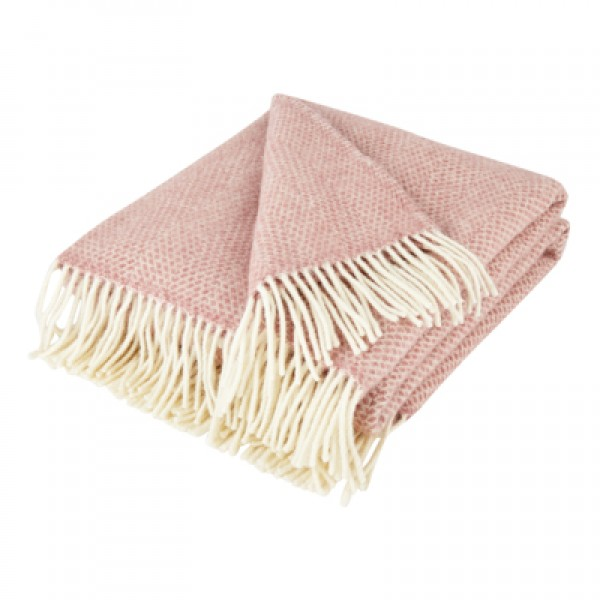 Dusky Pink Pure New Wool Beehive Throw
