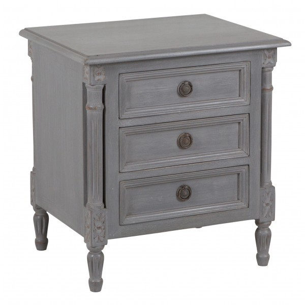 Grey Hand Painted 3 Drawer Provence Bedside Table