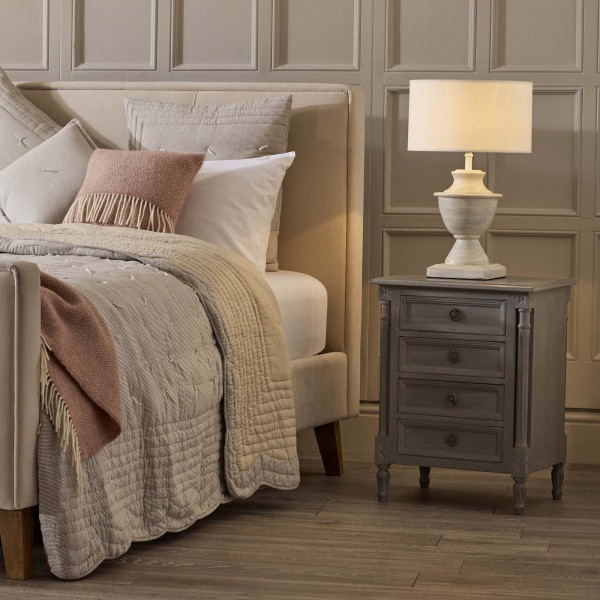 Provence Hand Painted Grey Bedside Table