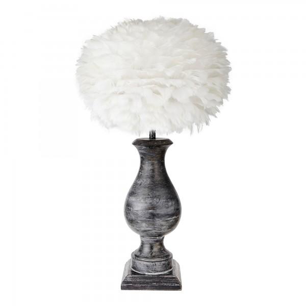 Large Black Wooden Hugo Lamp Base With Feather Shade