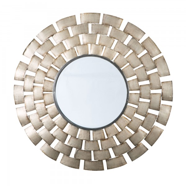 Inca Round Metal Gold Wall Mirror