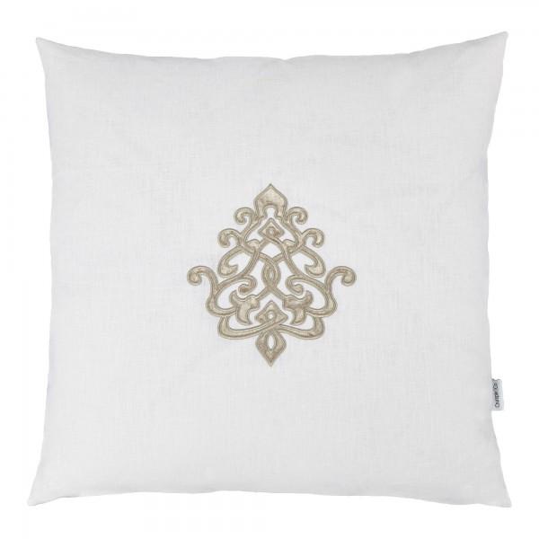 Louis White Linen 60 x 60 Motif Cushion With Interior