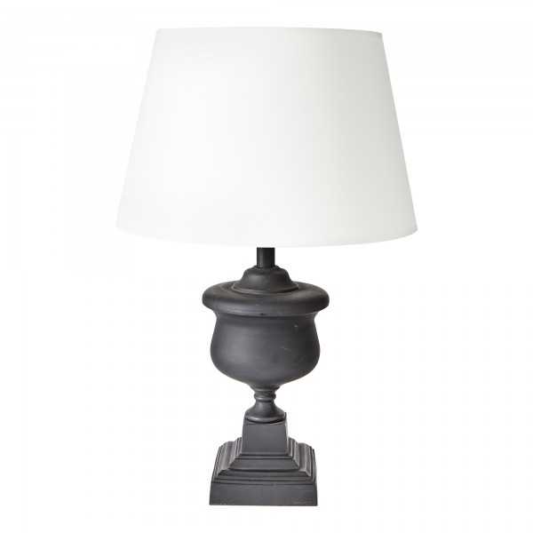 Matt Black Cast Metal Lamp Base With Retro Drum Shade | Retro Urn