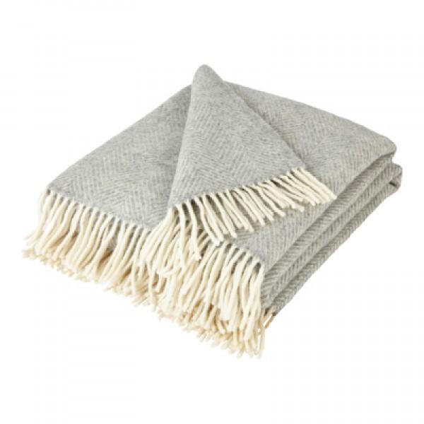 Silver Grey Pure New Wool Fishbone Throw