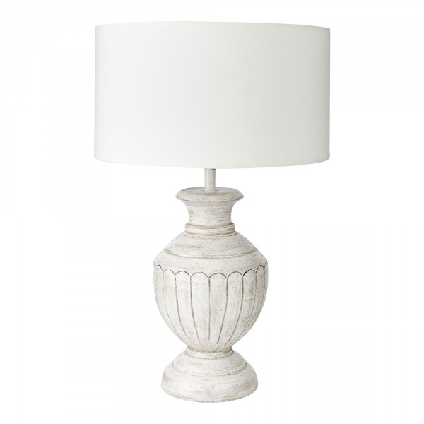 White Hand Painted Tuscany Lamp Base With Shallow Drum Shade