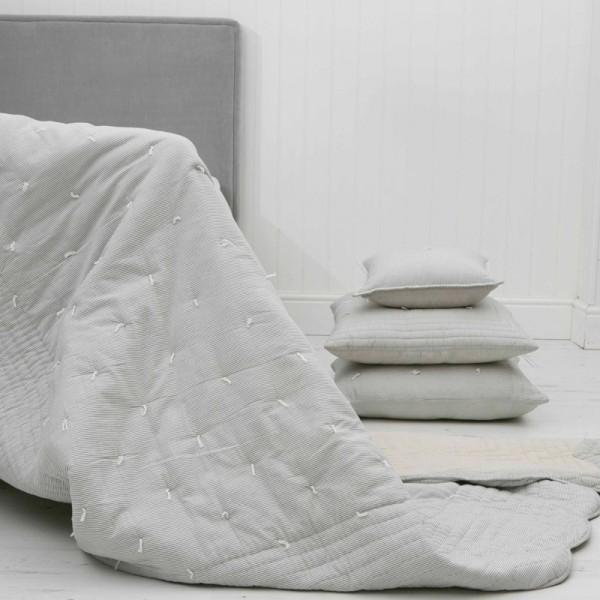 Finlay Ecru & Ink Striped Cotton Bedspread