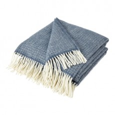 Slate Blue Pure New Wool  Illusion Throw