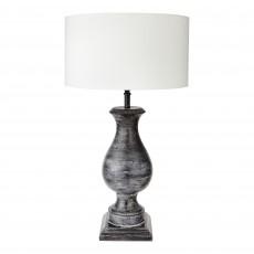 Large Black Wooden Hugo Lamp Base With Shallow Drum Shade