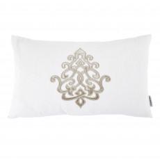 Louis White Linen 30 x 50 Motif Cushion With Interior