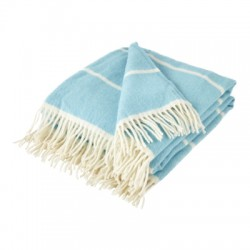 Bright Blue and Soft Cream Lambswool Broad Stripe Throw