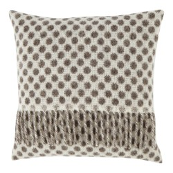 Lambswool 40 x 40 Grey and Brown Dot Cushion With Interior