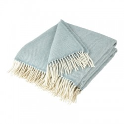 Duck Egg Blue Pure New Wool Fishbone Throw