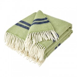 Green and Navy Stripe Pure New Wool Fishbone Throw