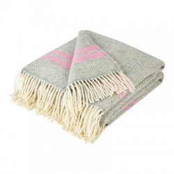 Silver Grey and Pink Stripe Pure New Wool Fishbone Throw