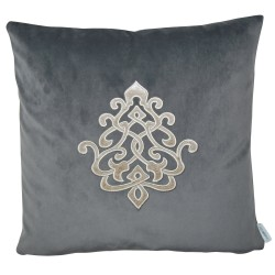 Louis Warm Grey Velvet 45 x 45 Appilque Cushion with feather interior