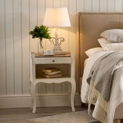 Antique White and Ash Bedside Table | Sorbonne