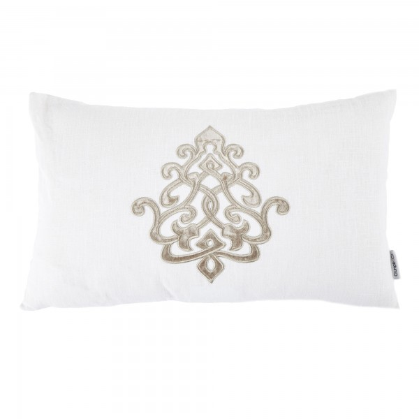 Louis White Linen Motif Cushion