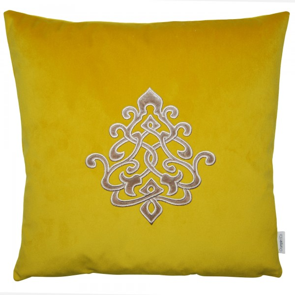 Saffron Yellow Louis 45 x 45 Applique Cushion Complete with Duck Feather Interior