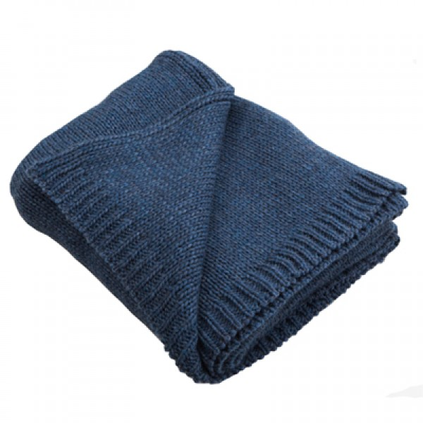 Chunky Blue Denim Knitted Alpaca Mix Throw