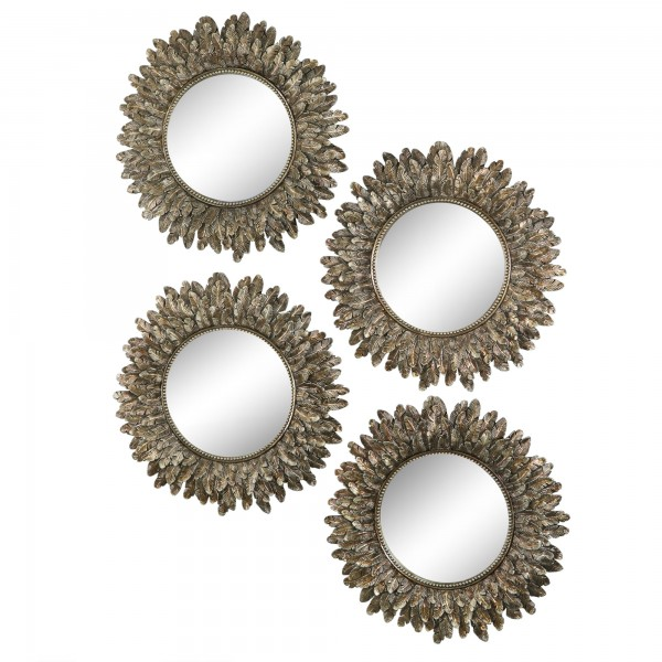 Annabel Round Intricate Leaf Resin Mirror