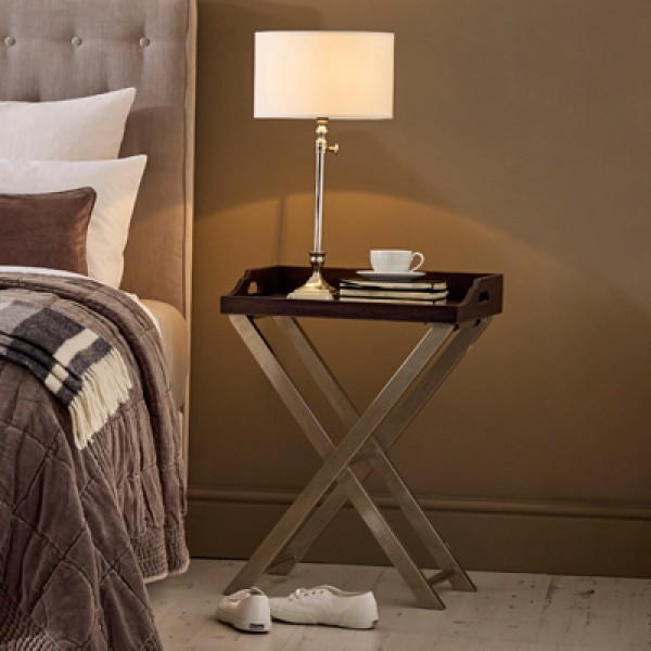 Antique Ebony and Silver Lacquer Bedside Table | Downton