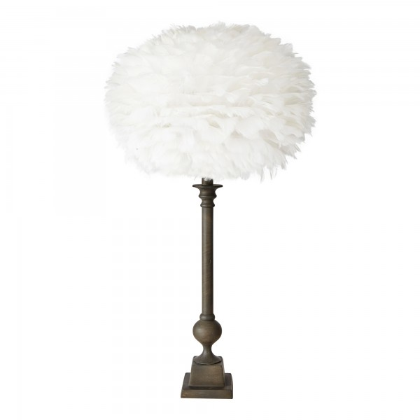 Gautam Lamp Base Complete With Feather Shade