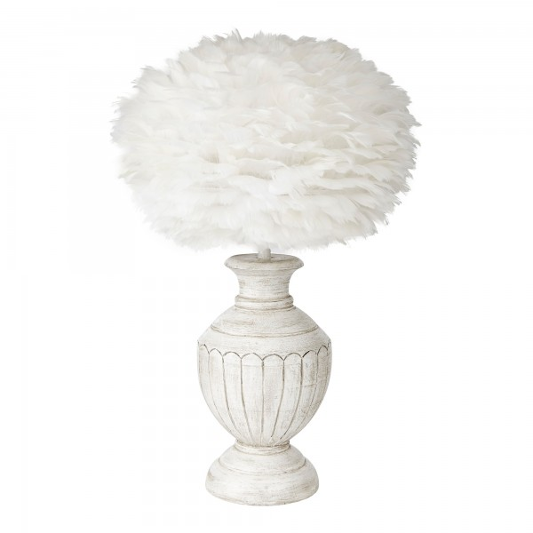 White Hand Painted Tuscany Lamp Base With Feather Shade