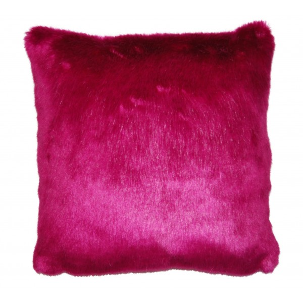Fuchsia Pink 45 x 45 Faux Fur Cushion with Feather Interior
