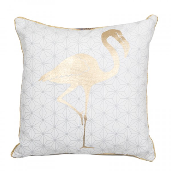 Gold Flamingo 45 x 45 Cushion Complete with Interior