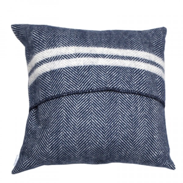 Pure New Wool 60 x 60 Blue Stripe Cushion With Interior