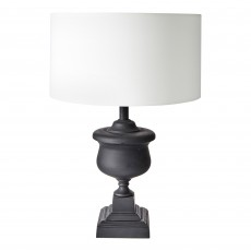 Matt Black Cast Metal Lamp Base With Shallow Drum Shade | Retro Urn