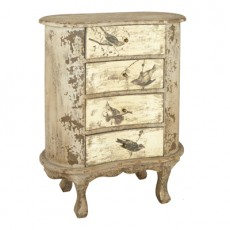 Vienna Distressed Antique Greige Bedside Table
