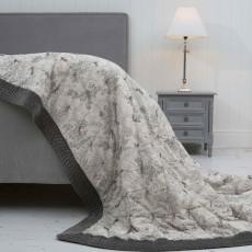 Millieflora Grey Printed Cotton Bedspread