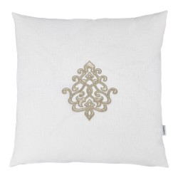 Louis White Linen 60 x 60 Motif Cushion