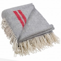 Silver Grey And Red Stripe Pure New Wool Fishbone Throw