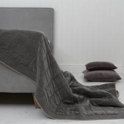 Vitton Grey Velvet Bedspread Quilt