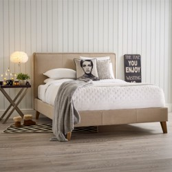 New York | King Size | Bed Frame House Weave Warm Linen
