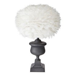 Matt Black Cast Metal Lamp Base With Feather Shade | Retro Urn